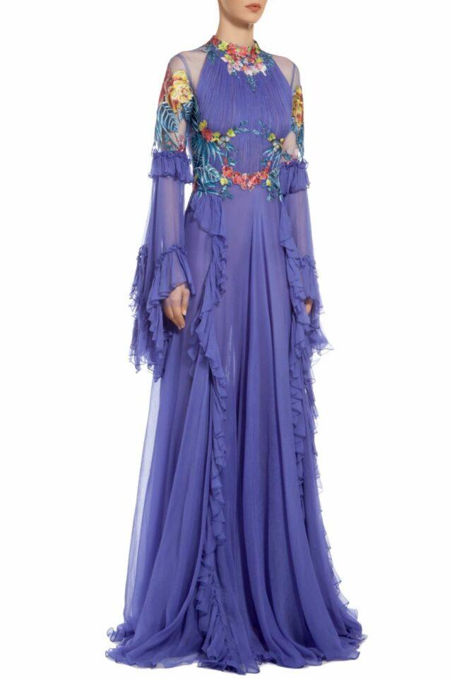 Sorana blue floral embroidered silk chiffon dress FW 1936