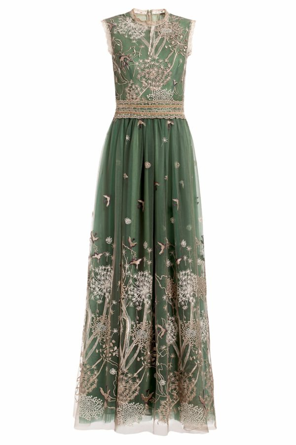 Emerald green sleeveless two tone embroidered tulle dress, Storytelling PR 1960