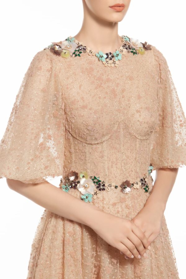 tamina beige flocked tulle bustier dress with crystal embellishments FW 1988