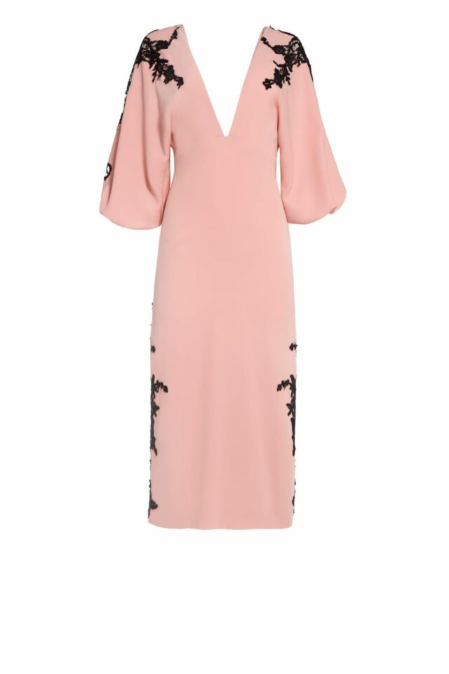 Jeseth pink crepe dress with Chantilly lace cut-outs PS 2040