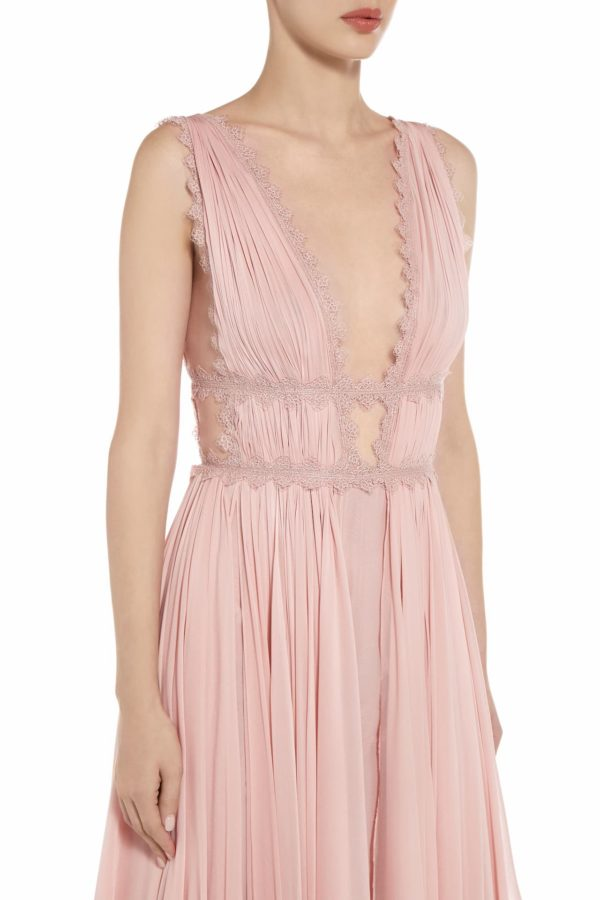 Sarlie pink silk chiffon grecian draped gown PS 2065
