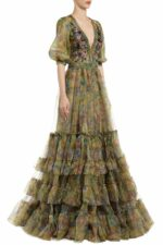 Shancy green sequin embellished printed organza dress PS 2070