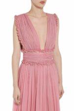 Amandra pink silk chiffon cummerbund dress PS 2060