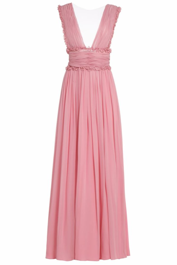 Amandra pink silk chiffon cummerbund dress PS 2060