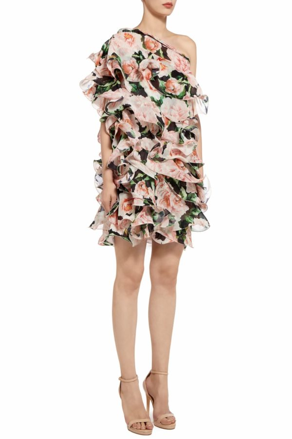 Amberly one-shoulder floral printed organza ruffled mini dress PS 2034