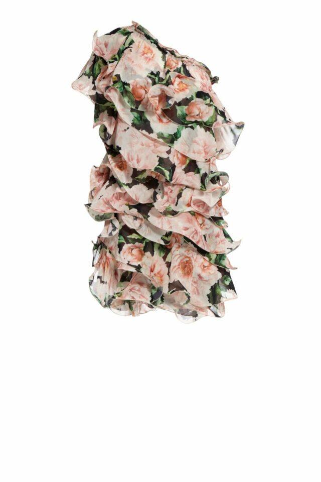Amberly one-shoulder floral printed organza ruffled mini dress PS 2034