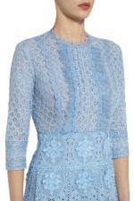 Amelle blue guipure lace embroidered godet dress PS 2010