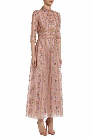 Andrenne rose floral embroidered mock-neck tulle dress PS 2082