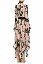 Ansa rose floral printed chiffon handkerchief dress PS 2035