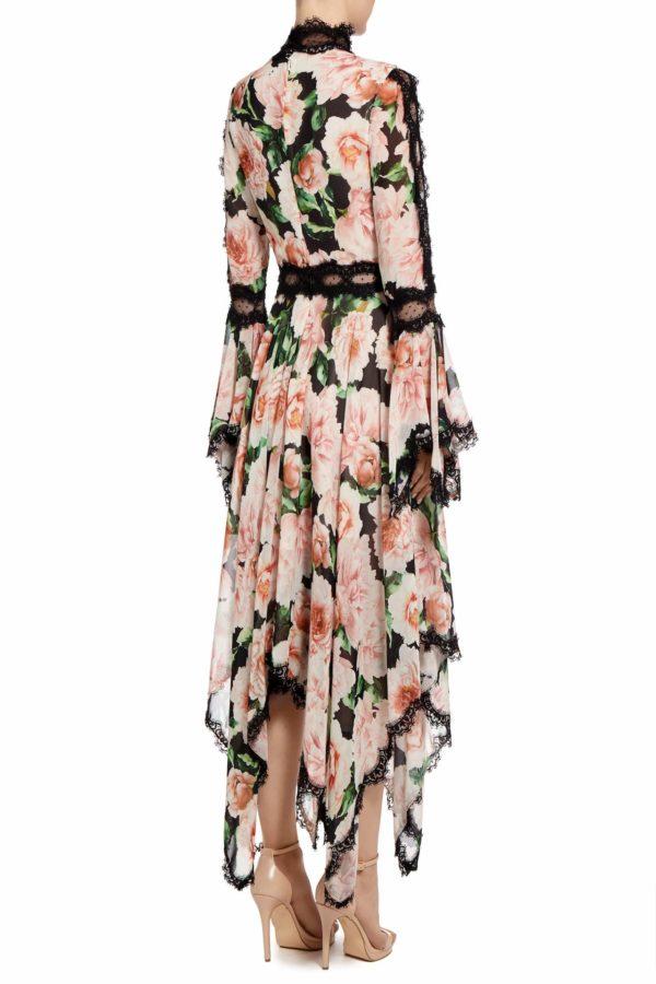 Ansa rose floral printed chiffon handkerchief dress PS 2035