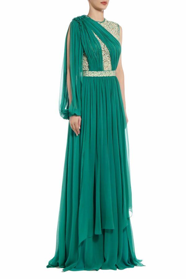chrisly green draped silk chiffon cordone lace PS 2050