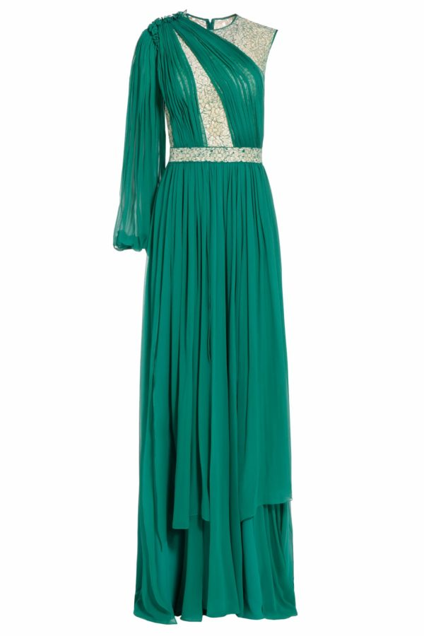 chrisly green draped silk chiffon cordone lace PS 2050