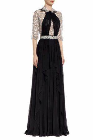 Amora draped silk chiffon dress with cordone lace PS 2052