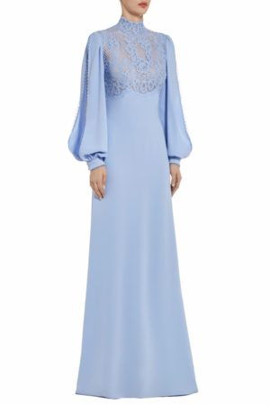 Elize lavendar blue crepe dress with slit sleeves and french lace PS 2042