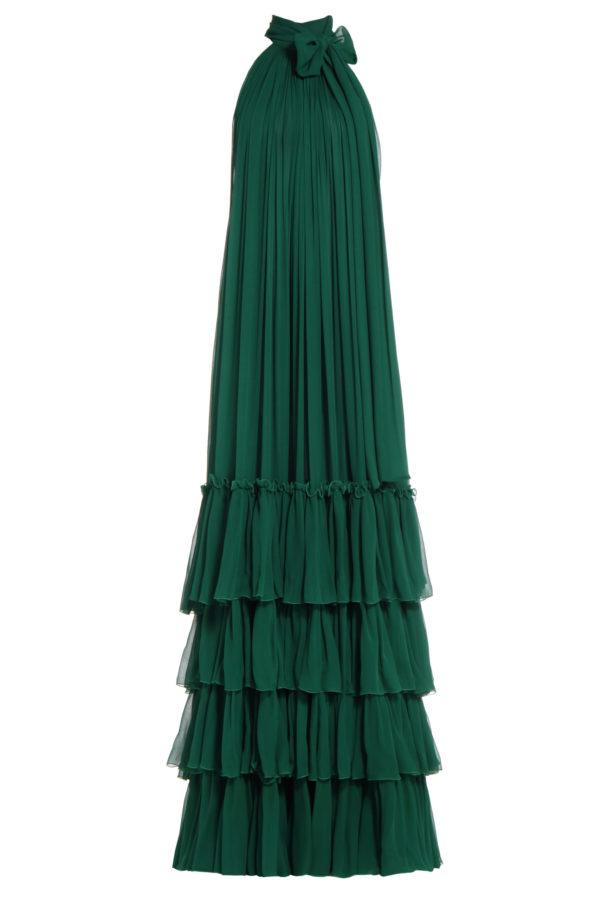 Samanda green silk chiffon tiered dress PS 2064