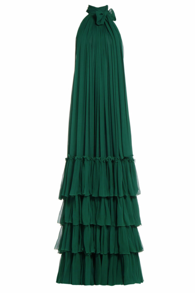 Samanda green silk chiffon tiered dress PS 2064