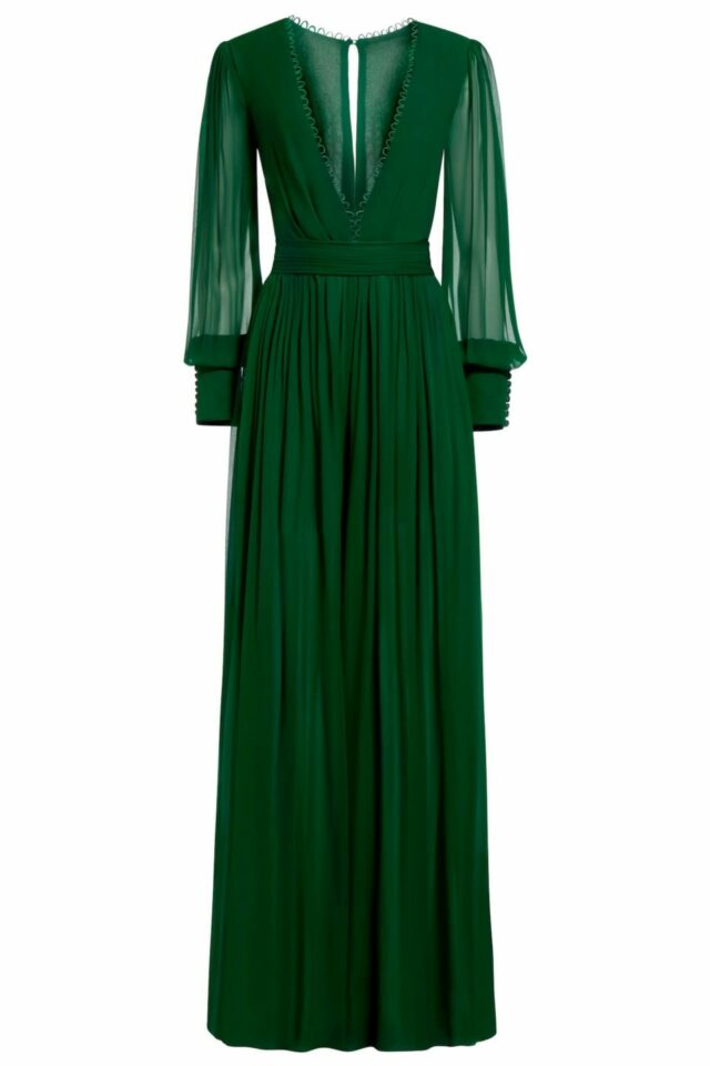 Janda emerald green silk chiffon jumpsuit PS 2061