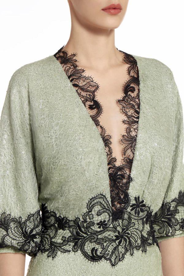 Elizabelle green sequin Chantilly lace dress PS 2024