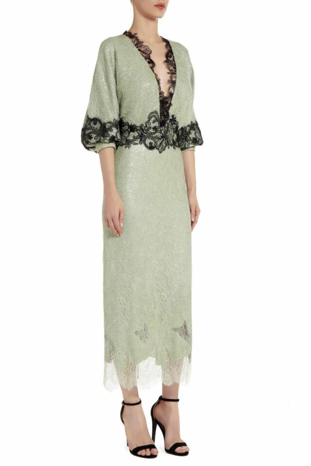 Elizabelle green sequin Chantilly lace dress PS 2024