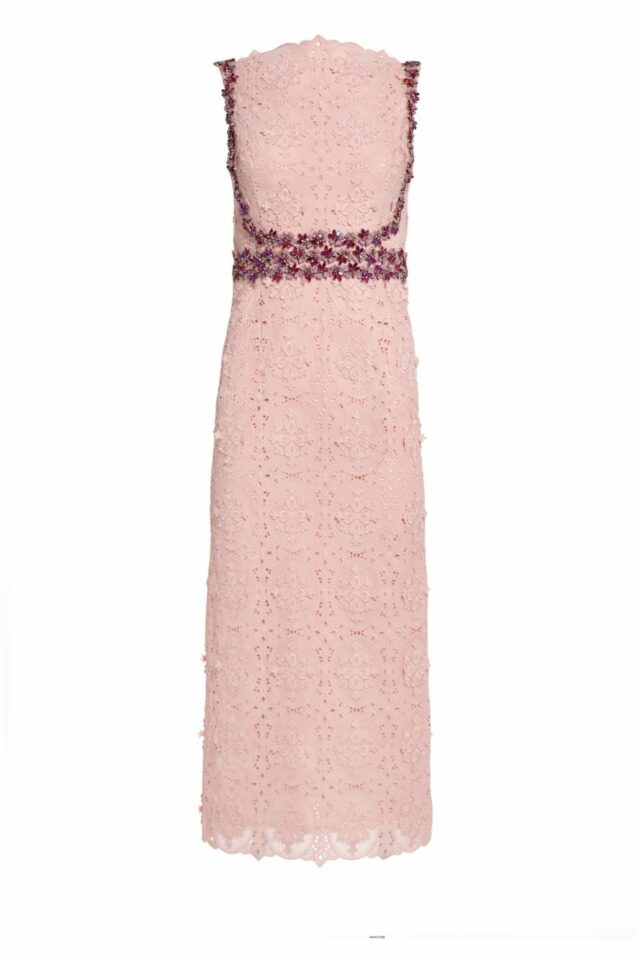 Jemmy pink cotton Guipure embroidered sheath dress with crystal embellishments PS 2014
