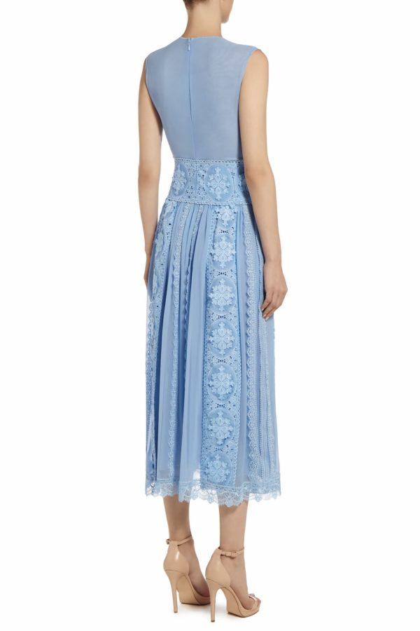 Jenille blue silk chiffon guipure lace midi dress PS 2013
