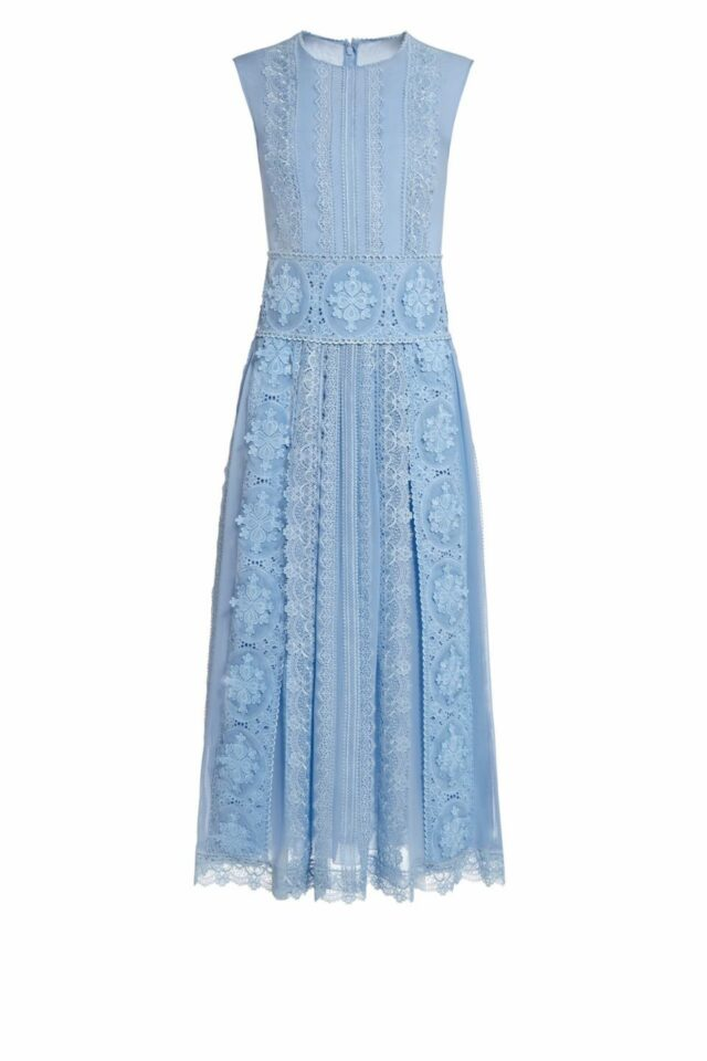 Jenille blue silk chiffon guipure lace midi dress PS 2013