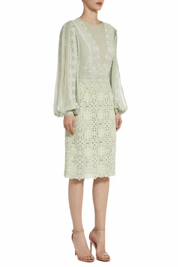 Jensa green silk chiffon dress with Guipure lace long sleeve dress PS 2011