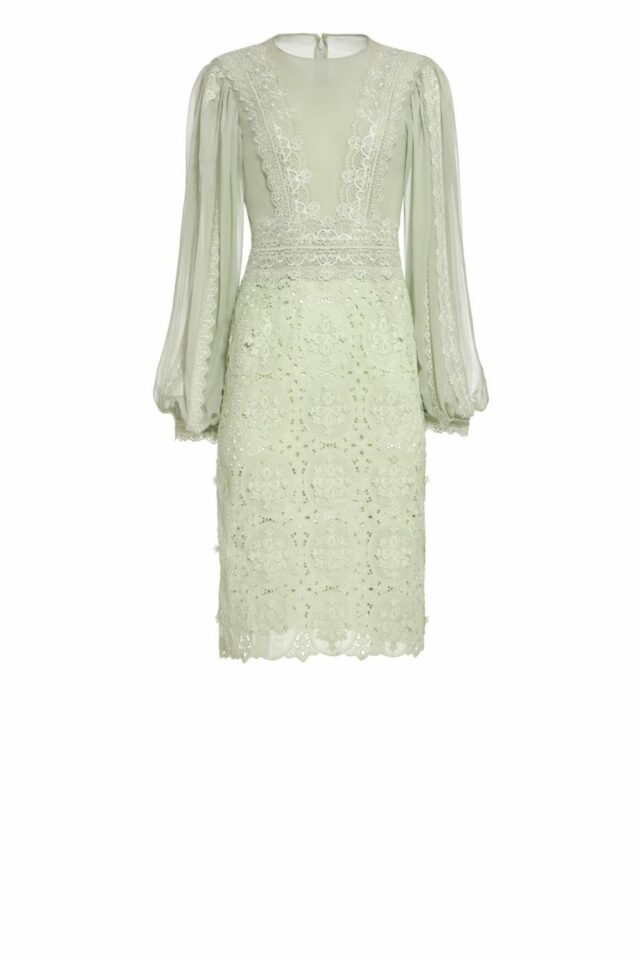 Jensa green silk chiffon dress with Guipure lace long sleeve dress PS 2011