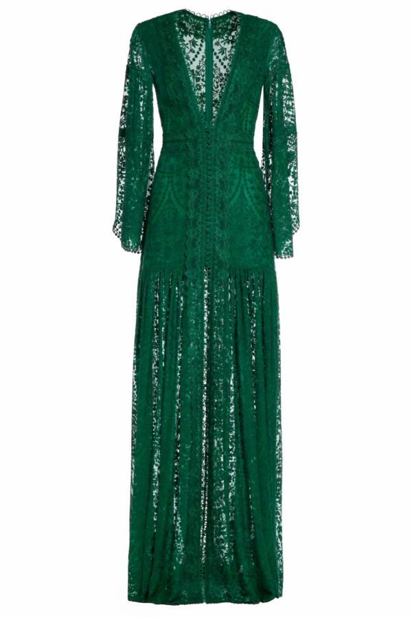 Jessile green embroidered silk chiffon angel sleeve dress PS 2055