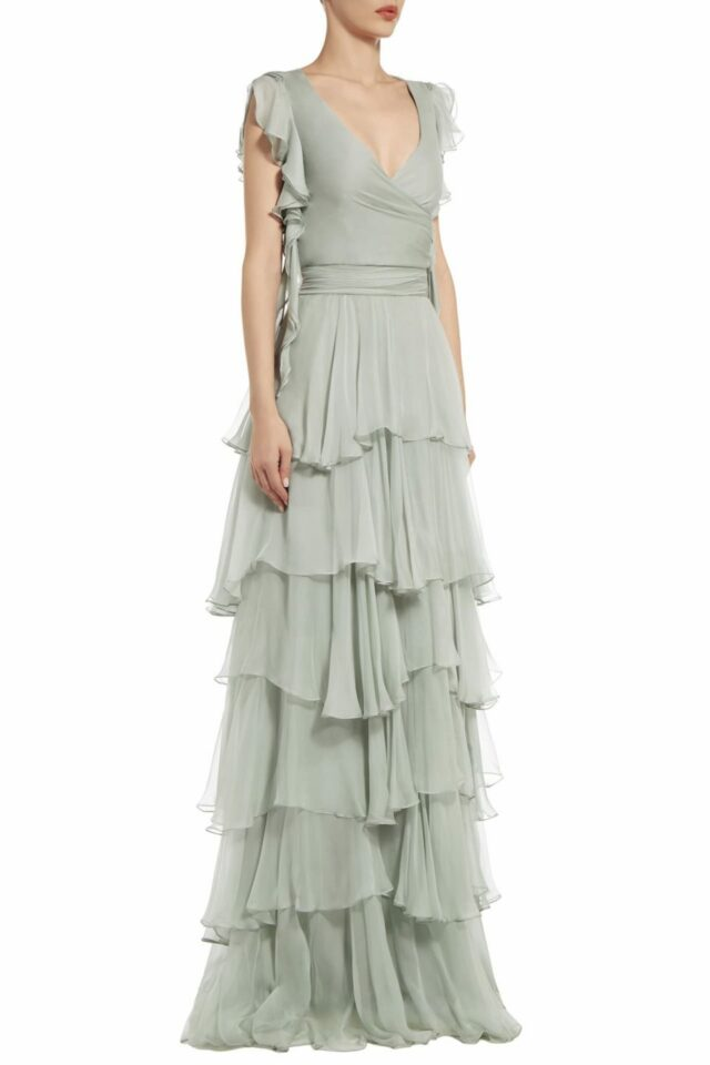 Julinda green tiered silk chiffon surplice dress PS 2062