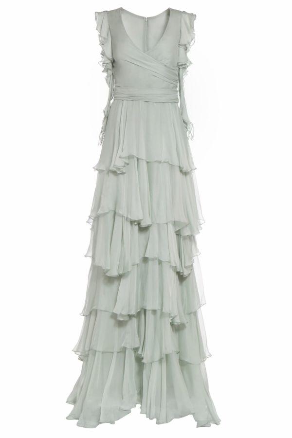 Julinda green tiered silk chiffon surplice dress PS 2062