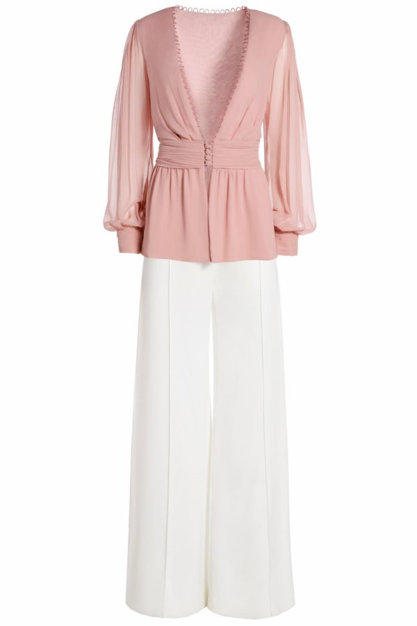 Julra pink buttoned peplum blouse with plunging neckline PS 2063