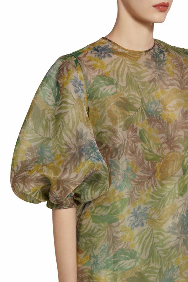 Karena green botanical leaf printed balloon sleeve blouse PS 2076