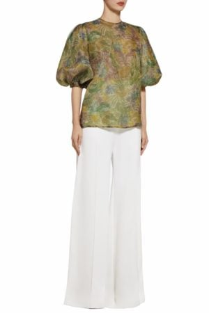 Karena green botanical leaf printed balloon sleeve blouse PS 2076