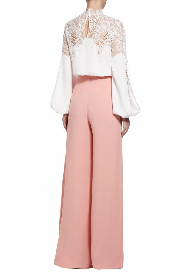 Kelina white crepe slit-sleeve french lace blouse PS 2047