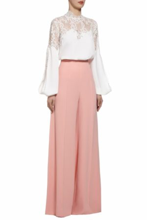 Kelina white crepe slit-sleeve french lace blouse PS 2047