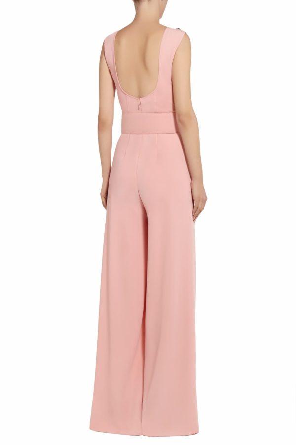 Kery pink crystal & pearl embellished crepe jumpsuit PS 2046