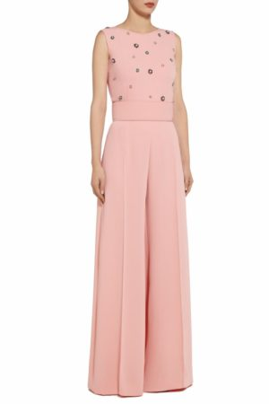 Kery pink crystal & pearl embellished crepe jumpsuit PS 2046