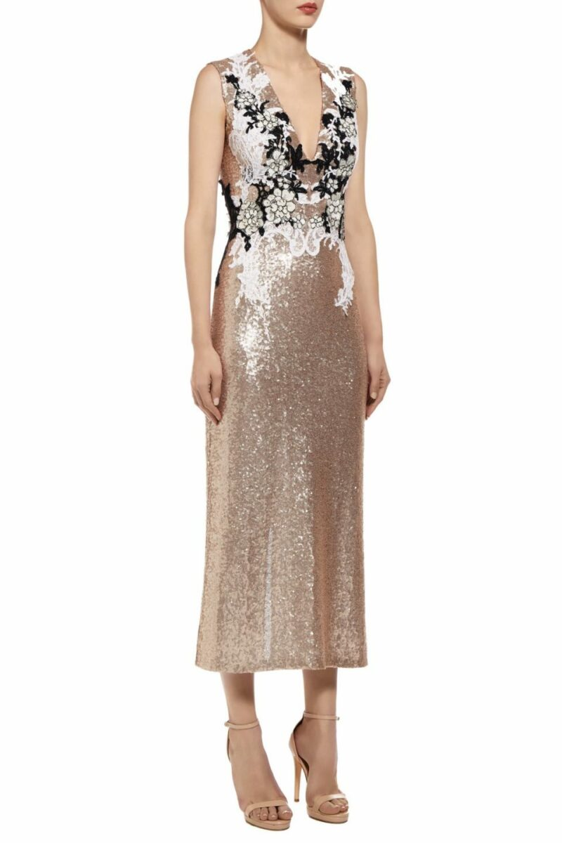 Kimberla gold sequin midi dress with Chantilly lace PS 2025