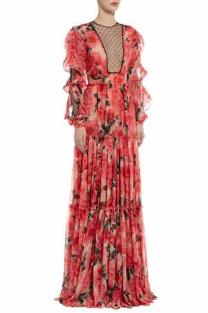 Kimela red floral printed chiffon with cut-outs PS 2030