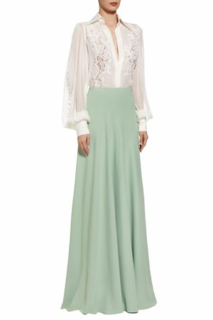 Lalie white silk chiffon button-down blouse with cordone lace PS 2066