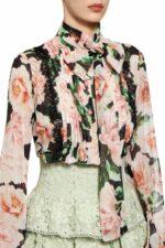 Lela green silk chiffon ruffle mini skirt with guipure lace PS 2012