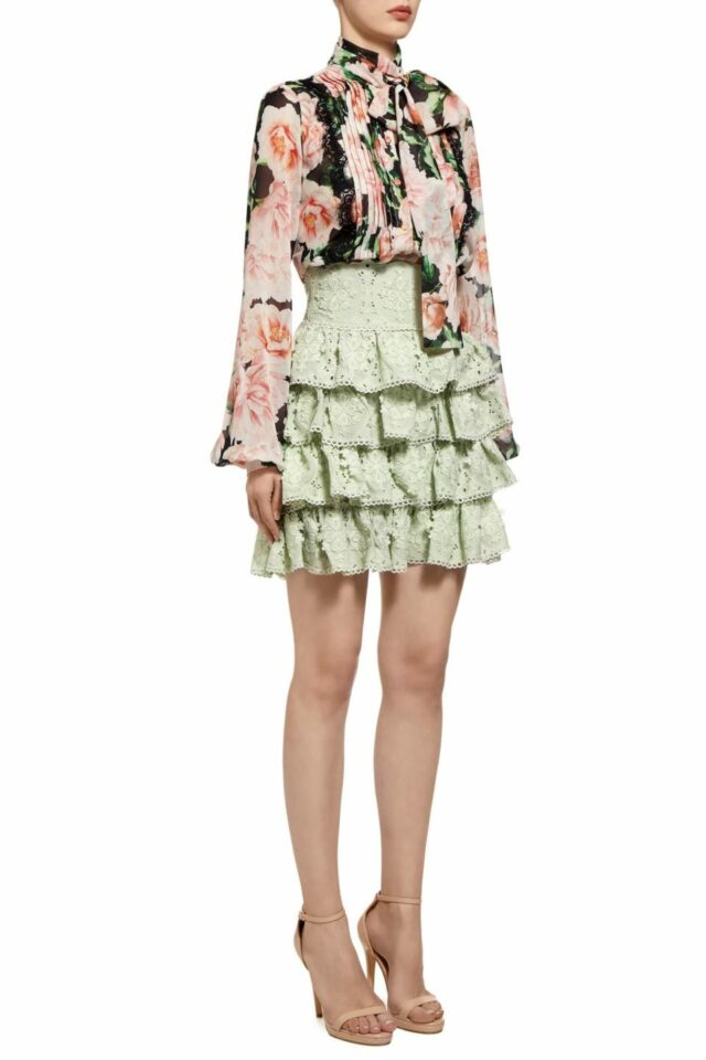 Lela green silk chiffon ruffle mini skirt with guipure lace PS 2012
