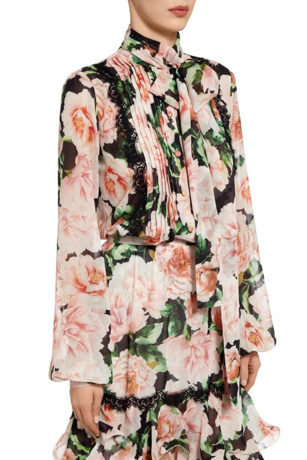 Lisaly printed floral chiffon pussybow blouse PS 2032