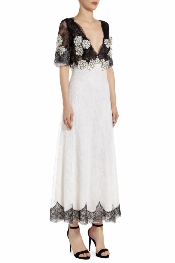 Melise white sequin Chantilly lace empire-waist dress PS 2020