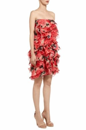 Meliselle red floral printed chiffon ruffle frill mini dress PS 2031
