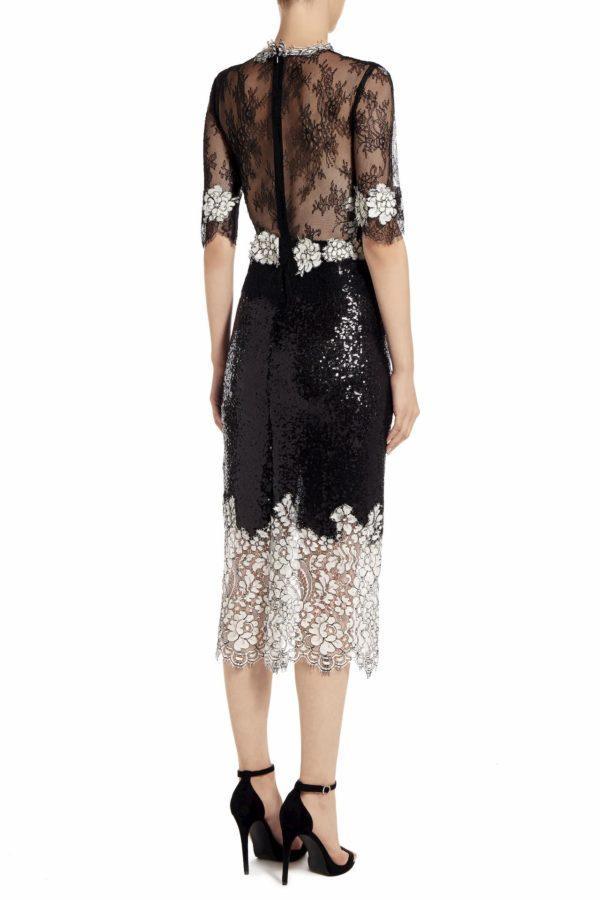 Michella black sequin midi dress with cordone lace PS 2021