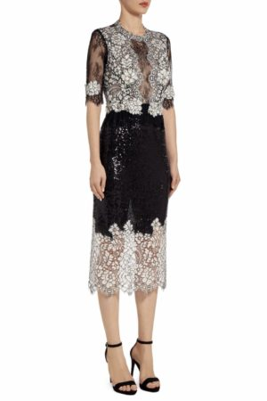 Michella black sequin midi dress with cordone lace PS 2021