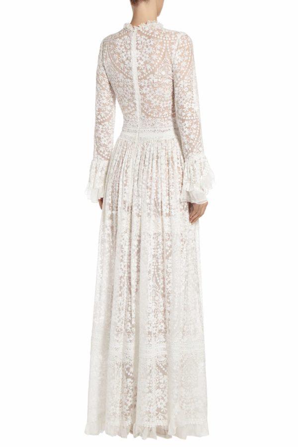Mikolina white embroidered silk chiffon flounce sleeve dress PS 2004