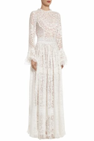 Mikolina white embroidered silk chiffon flounce sleeve dress PS 2004
